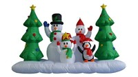 8 FOOT WIDE INFLATABLE SNOWMEN FAMILY