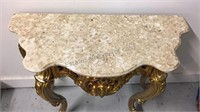 "Marble top foyer Table with resin legs 36"" wide"