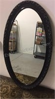 "Framed oval wall mirror 19"" wide 35' Tall"