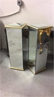 Pair of mirrored glass display/plant stands