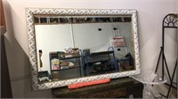 Large carved wood frame beveled mirror 43 x 67