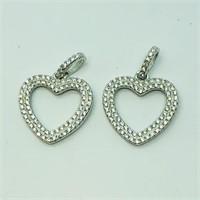Sterling Silver Cubic Zirconia 2 Heart   Pendant