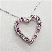 Sterling Silver Created Pink Sapphire Cubic