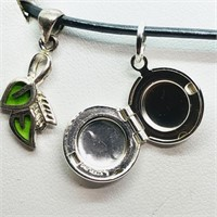 Sterling Silver Leaf And Locket Pendant With Cord