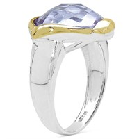 Rhodium Plated Pink Amethyst(5.9cts)  Ring (~Size
