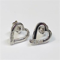 Sterling Silver Diamond  Earrings (~weight 2g)