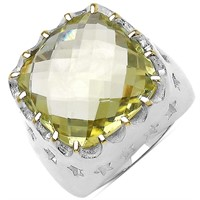 Rhodium Plated Lemon Topaz(9.8cts)  Ring (~Size