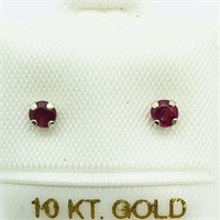10K White Gold Ruby(0.32cts)  Earrings (191 -