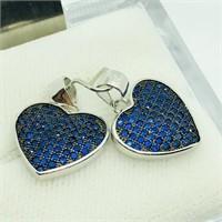 Sterling Silver 2 Blue Cz Heart   Pendant