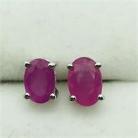 Sterling Silver Ruby Studs  Earrings (197 - JT53)