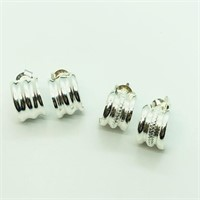 Sterling Silver 2 Pairs Of  Earrings (107 - JT58)