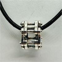 Sterling Silver Bead With Cord  Necklace (~weight