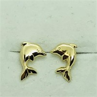 14K Yellow Gold Dolphin Screwback   Earrings (116
