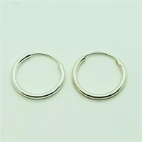 Sterling Silver Three Pairs Of Small Hoop