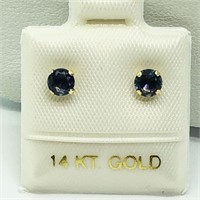 14K Yellow Gold Iolite(0.46cts)  Earrings, Made