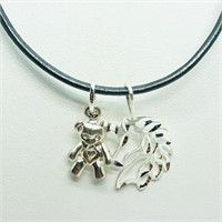 Sterling Silver 2 Pendants With Cord  Necklace