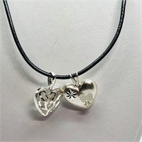 Sterling Silver 2 Heart Shaped Pendants With Cord