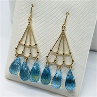 14KYellow Gold Blue Topaz(8cts)  Earrings, Made