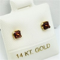 14K Yellow Gold Garnet  Earrings, Made in Canada