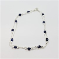 Sterling Silver Sapphire(10cts)  Necklace