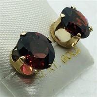 14K Yellow Gold Garnet(4.25cts)  Earrings, Made