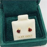 10K Yellow Gold Garnet  Earrings, Made in Canada