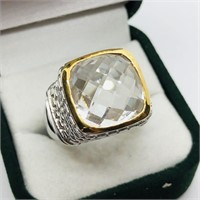 Brass White Topaz(8.1cts)  Ring (~Size 8)