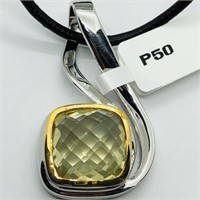 Brass Lemon Topaz(5.8cts) W/ Fashion Cord Pendant