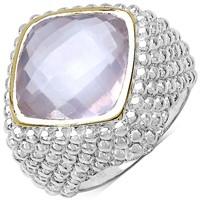 Rhodium Plated Rose Quartz  Ring (~Size10.25)