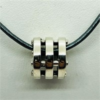 Sterling Silver Bead With Cord  Necklace (128 -