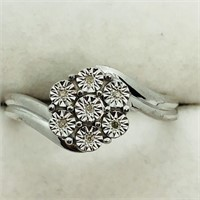Sterling Silver 7 Diamond   Ring (~Size 7.25)