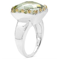 Rhodium Plated Lemon Topaz(12.4cts)  Ring (132 -