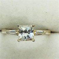 Sterling Silver Cubic Zirconia  Ring (~Size 7)