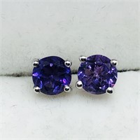 Sterling Silver 2 In 1 Amethyst  Earrings (56 -