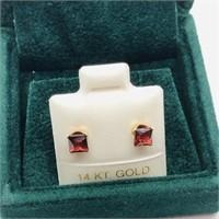 14K Yellow Gold Garnet(0.8cts)  Earrings, Made in
