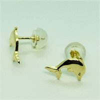 14K Yellow Gold Dolphin Shaped Earrings (64 -