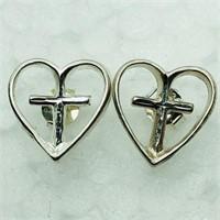 Sterling Silver Heart And Cross Shaped Earrings