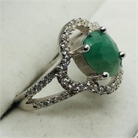 Sterling Silver Emerald (May Birthstone) Cubic