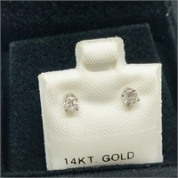 14K White Gold Diamond(0.25cts)  Earrings, Made