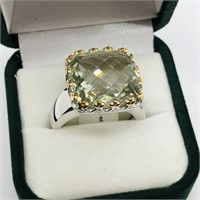 Brass Green Amethyst  Ring (~Size 9.25) (~weight