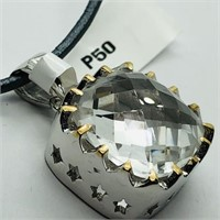 Brass White Topaz(9.8cts)  Pendant (~weight