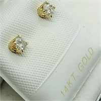 14K Yellow Gold Diamond(0.12cts)  Earrings, Made