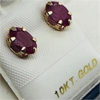 10K Yellow Gold Ruby(1.6cts)  Earrings, Made in