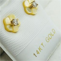 14K Yellow Gold Diamond(0.1cts) W/ Mother Of