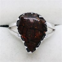 Sterling Silver Ammolite  Ring (~Size 8) (63 -