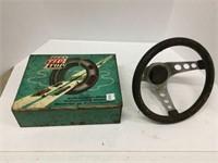 "Tin tire patch box 10"" x 12"" & steering wheel"
