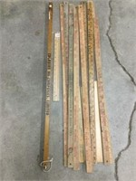 Group of assorted yardsticks and rulers British