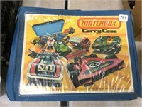 Partial Matchbox carry case of toy cars