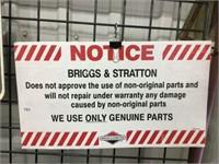 """Briggs and Stratton plastic sign 21"""" x 12"""""""
