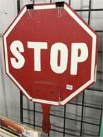 """Handheld wooden stop sign 17"""" x 22"""""""